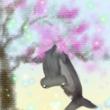 サルスベリに引っ掛かり嘆いているシュモクザメ