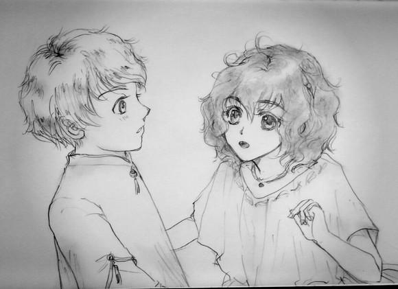 キリク&エメルダ、イメージ画(鉛筆・ナチュラル加工)
