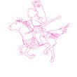 騎馬武者のスケッチ
