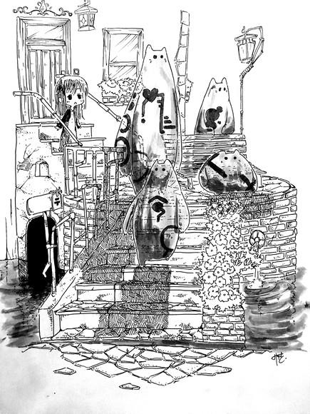 【イラスト】水の都の妖精達