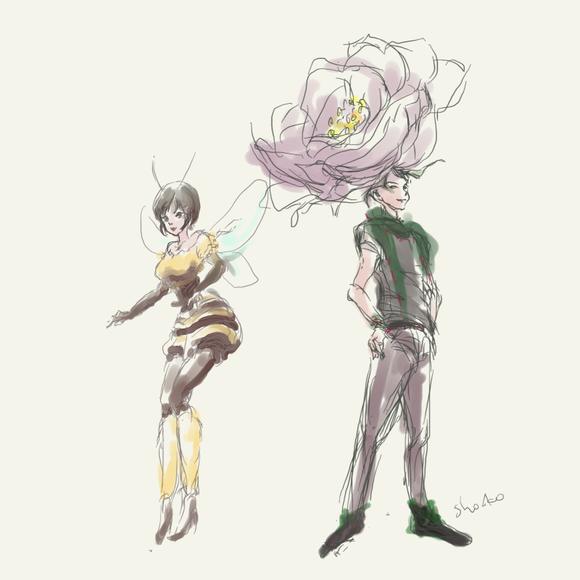 薔薇とミツバチ