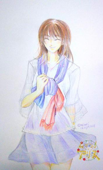 色鉛筆練習 ムゲンノイチノアリス弥生
