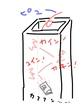 煙突に放り込まれる空き缶