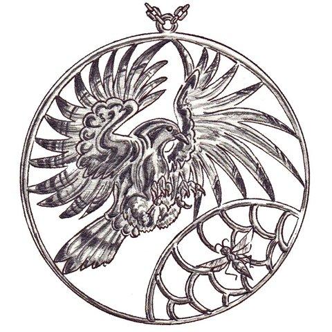 飛翔する蜂角鷹