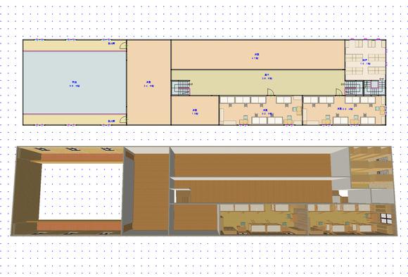 遺跡の町(仮称)・騎士団庁舎(建築中)08 2階・間取り図