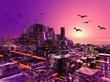未来都市・夕方風景
