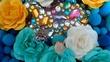 青い造花と宝石