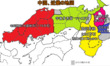 東西決戦後の中国、近畿の地図
