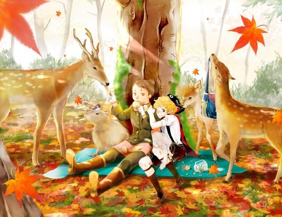 10月*鹿と紅葉。