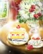 樹木様の薔薇入り紅茶ケーキ
