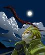 戦いの夜空に駆け上る竜の戦士たち