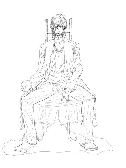 【線×色】椅子の人