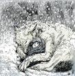 雪中の子守りのナン