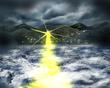 嵐の海と光り