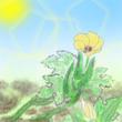 秋月 忍様ファンアート、日光浴をするオクラ