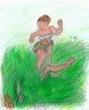 草上の追撃または格闘ごっこ